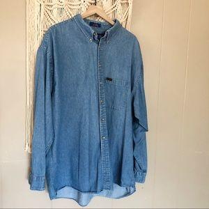 Pendleton light wash denim long sleeve shirt xxl